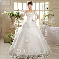 2015 New 100% Actual Images Floor-Length Vintage Slim Bandage Off Shoulder Backless Lace Flower Princess Wedding Dress WD037