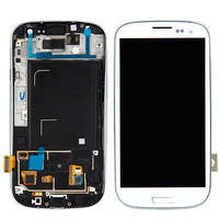 100% Original I9300 LCD For Samsung Galaxy S3 iii Display Touch Screen Assembly With Frame white Free shipping