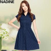 Nadine 2013 spring slim shirt turn-down collar 100% cotton embroidered belt puff sleeve one-piece dress
