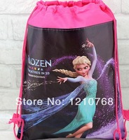 Children school bags frozen backpack Frozen Elsa Bags with String backpack 34*27cmFree Shipping