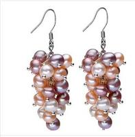 sterling silver jewelry dangle earring drop earrings silver 925 genuine freshwater pearl earrings grape style brincos grandes
