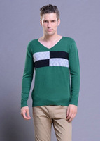 New 2014 Autumn New Men's sweater Fashion Casual Urban Pullover sweaters V-neck Slim Thin Section Men Spell Color Plaid Pullover