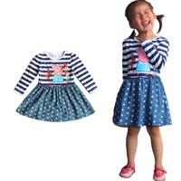 2014 summer new girls dresses 3 ~ 7age peppa pig cartoon polka dots casual dress princess dress christmas dress Free Shipping