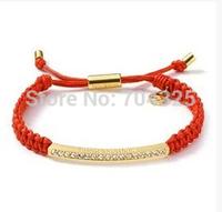 Hand-woven 2014 Multilayer Braided Bracelets Multicolor Wax rope weaving bracelets Bangle Rhinestone Chain Bracelets