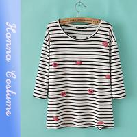 Fall 2014 new European and American fashion style lips print long sleeve stripe women t shirt
