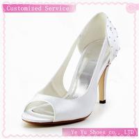 Satin Stiletto Heel Peep Toe / Slingbacks With Rhinestone Party/evening Shoes Cy0106