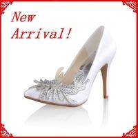 Elegant Satin Stiletto Heel Pumps With Rhinestone Flower Wedding Shoes(more Colors) Cy0026