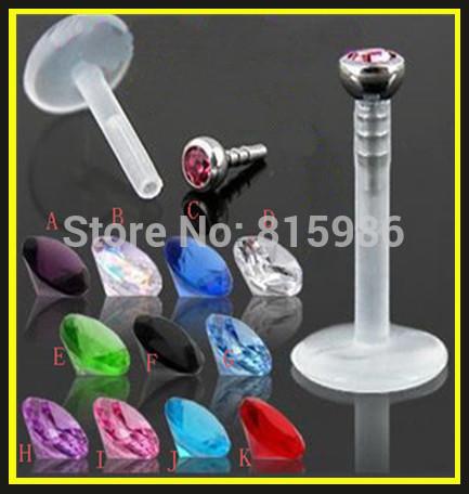 Bijoux de corps l16 stud à lèvres en gros livraison gratuite 10pcs/lot mélanger 10 couleur acrylique uv bague à lèvres labret piercing stud cristal