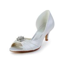 Free Shipping Fabulous Brides Tops Brand New Satin Peep Toe Mid Heel Wedding Shoes With Rhinestone Stiletto Heel CY0237
