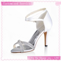 Free Shipping Fabulous Brides Tops Brand New Satin Stiletto Heel Sandals Wedding Shoes With Rhinestone CY0146