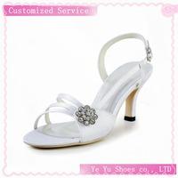 Free Shipping!Pretty Satin Upper Mid Heel Sandals With Rhinestone Wedding Shoes CY0124