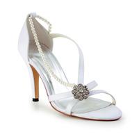 Free Shipping!Pretty Satin Upper Stiletto Sandals With Rhinestone Wedding Shoes CY0115
