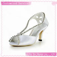Elegant Satin Stiletto Heel Peep Toe Pumps with Rhinestone Wedding Shoes(More Colors)