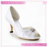 Free Shipping!satin Peep Toe Wedding Shoes With Rhinestone Stiletto Heel Cy0100