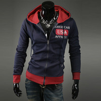 Free shipping new men's fashion spell color coat USA embroidered sweater jacket Slim Korean Hoodies
