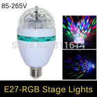 NEW Style RGB Full Color E27 3W AC 110V 220V LED Bulb Crystal Auto Rotating Stage Effect DJ Mini Laser Disco Stage light lamp
