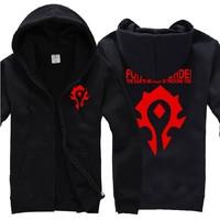 New mens hip hop clothing crewneck World of Warcraft/Dota Horde Cool Black Cosplay Hoodies men Coat/Costume/Jacket hooded male