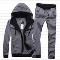 Free Shipping 2014 men's sports suit hood male sports set casual set male sweatshirt men's casual jacket pants sport wears