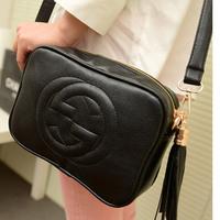 2014 Hot Sale tassel mini messenger bag vintage women's handbag shoulder bag black/white/red