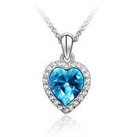 2014 summer full rhinestone heart pendant austria crystal  chain female necklace