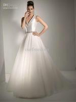 Wholesale - 2013 New Elegant V Neck Beads A Line Sweep Train Satin Bridal Gowns Wedding Dresses White Ivory Hot Sale Custom Made