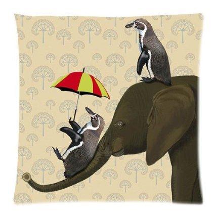 f- loja pingüim adorável elefante zip quadrados fronha fronha capa 18*18 polegadas dois lados zíper com zíper personalizado diy(China (Mainland))