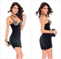 Hot Sales Size S;M;L Punk rivet outer wear bra strap folds European  fashion dress fashion elegant sexy dress 4 colors D141-1