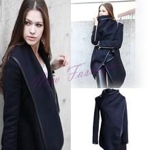 New 2014 Women Coat Winter Woolen Long Sleeve Overcoat Fashion Trench Woolen Coat S-XXL b7 SV005043(China (Mainland))