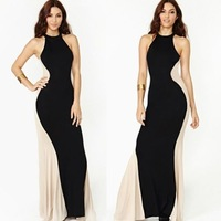 2014 Women Maxi Long Dresses Black Spring Long Sleeve Square-neck Sexy Slim Party Backless Empire Floor-length Dress  655592