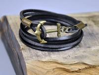 Handmade Charm 3-Wrap Black  Genuine Leather&Hemp Braided Bracelet Wristband Men's Cuff  With Multi Wrap Anchor Clasp
