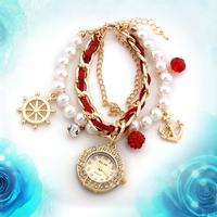 Hot Fashion Bracelet Wristwatches Women Rhinestone Watches Alloy Case Analog Acrylic Watch Sale Promotion