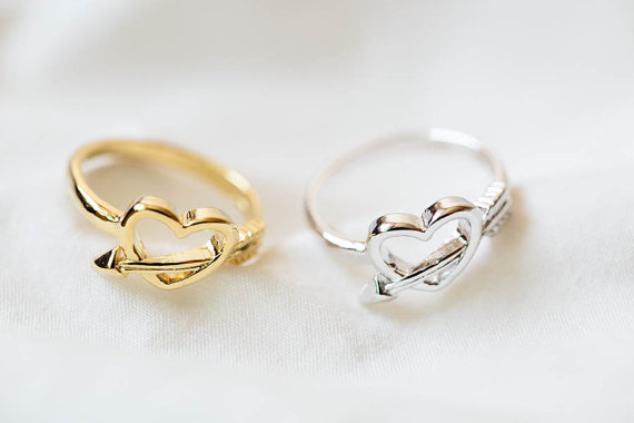 Free shipping Wholesale 10pcs lot 2015 Fine Jewelry Charm Dainty Cupid Arrow and Heart Ring In