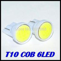 20pcs/lot x T10 194 168 W5W 6led t10 cob led white 2W High Power LED Car Door Lamps Indicator Light Reading Light  Bulbs White