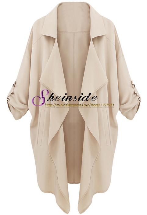2014 neuesten designs feiern kleidung der frauen Frühjahr/Herbst mode beige langarm casual lose Taschen mantel