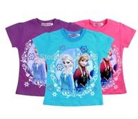 2 x Girls T-Shirts Frozen Princess Elsa & Anna Short Sleeve Tee shirts Tee Tops Girl Summer Clothing 2-8 Years
