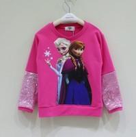 children girl autumn fall 2014 new arrival fashion cartoon frozen elsa and anna sequined sleeve blouse kid casual sweatshirt top