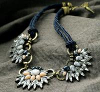 Bohemian style black rope chain clear rainbow drop flower bead bib statement shourouk necklaces pendants