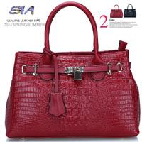 Genuine leather women handbag 2014 new embossed crocodile brand Shoulder Bag women Messenger bags women's leather handbags totes