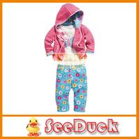 FREE SHIPPING girls cute flower butterfly 3 pcs suit set (bow stripe hoody jacket + long sleeve shirts+ flower pants) EG1028