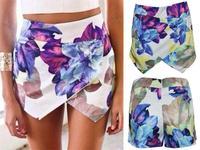Summer Asymmetric Flower Print Hot Shorts Women Brand Pom Short Skirt Shorts 2015 Fashion Girl  Flower skorts EJ655583