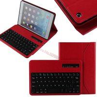 Removable Bluetooth Keyboard Folio Case for iPad mini 2 / iPad mini - Smart Case with Auto Sleep / Wake, Long Battery Life Red