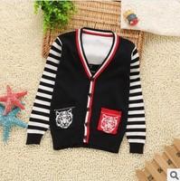 autumn winter new 2014 children boy fashion striped sleeve leopard pattern v neck cardigan sweater kids knit outerwear clothes