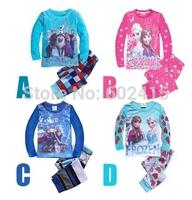 6set Children girl's  Autumn long sleeve cartoon Frozen girl pajama set  top+pant 2-piece/set 17758