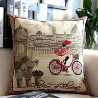European and American retro illustrations streets  France Cotton pillow retro vision Bar Cafe decorative cushions / WDX703