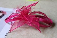 2014 New Fashion Sinamay Fuschia Fascinator Hat Wedding Headpiece With Comb For bride Free Shipping 1 pcs/lot