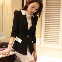 2014 winter  fashion women black slim sexy Suit  jacket  female OL work new arrival long suit girls small suit jacket