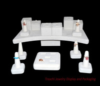 High Quality Ring Display Combination Kit Beige Suede Ring Holder Showing Stand Tray Counter Jewelry Display Props Set