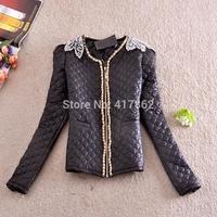 Free shipping U&Me new 2014 autumn and winter coat jacket fashion Slim short beaded Down cotton coat women coat jacket outerwear