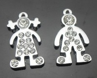 Wholesale - 100pcs rhinestone boy & girl hang pendant charms DIY jewelry findings