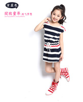 Girls 2014 children new summer wear children's cotton stripe princess fitted dress